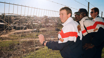 Mike Atherton and the England players visit Alexandra township