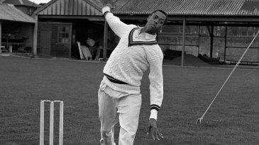 Lance Gibbs bowls
