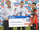 Mohammad Akhlaq poses with the Man-of-the-Match award, Group A: Azad Jammu & Kashmir Region v Lahore Region Blues, Rawalpindi, Sep 1, 2015