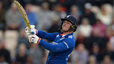 Jason Roy watches a hook shot sail off his bat