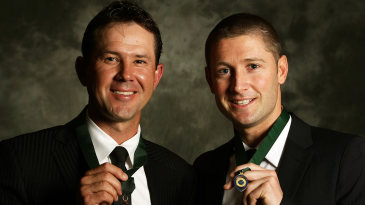 Ricky Ponting and Michael Clarke with their Allan Border Medals