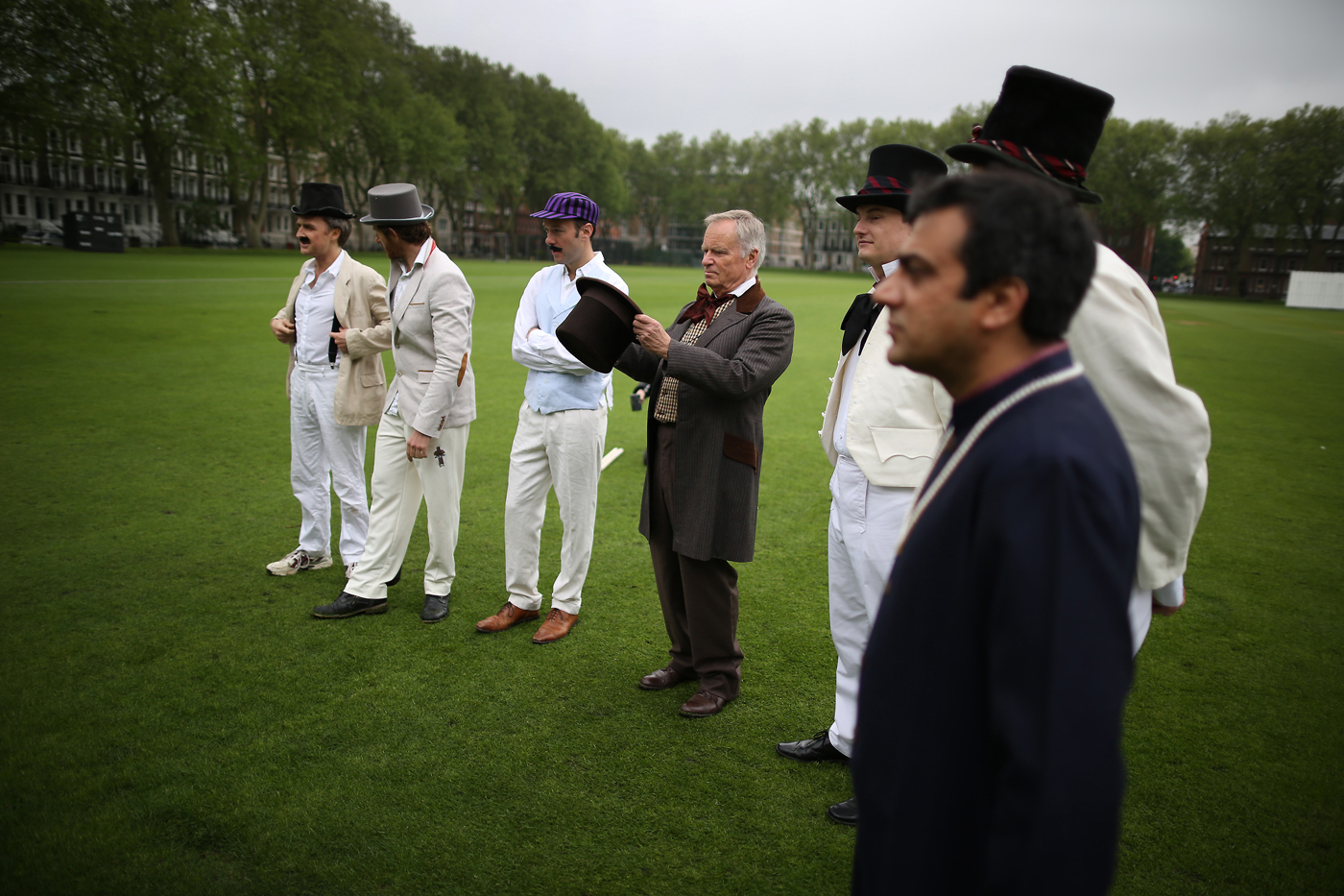 Archer prepares to umpire in a Wisden XI v Authors XI game in 2013