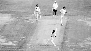 Rohan Kanhai swings at and misses a ball from Bob Willis
