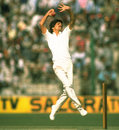Gopal Sharma bowls India v England, 5th Test, Kanpur, 5th day, February 5, 1985