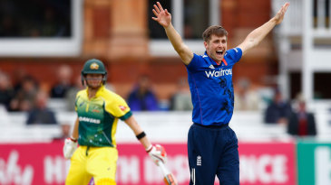 Chris Woakes unsuccessfully appeals for the wicket of Steven Smith