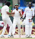 Ishant Sharma and and Virat Kohli celebrate Upul Tharanga's wicket,  Sri Lanka v India, 3rd Test, SSC, Colombo, 4th day, August 31, 2015