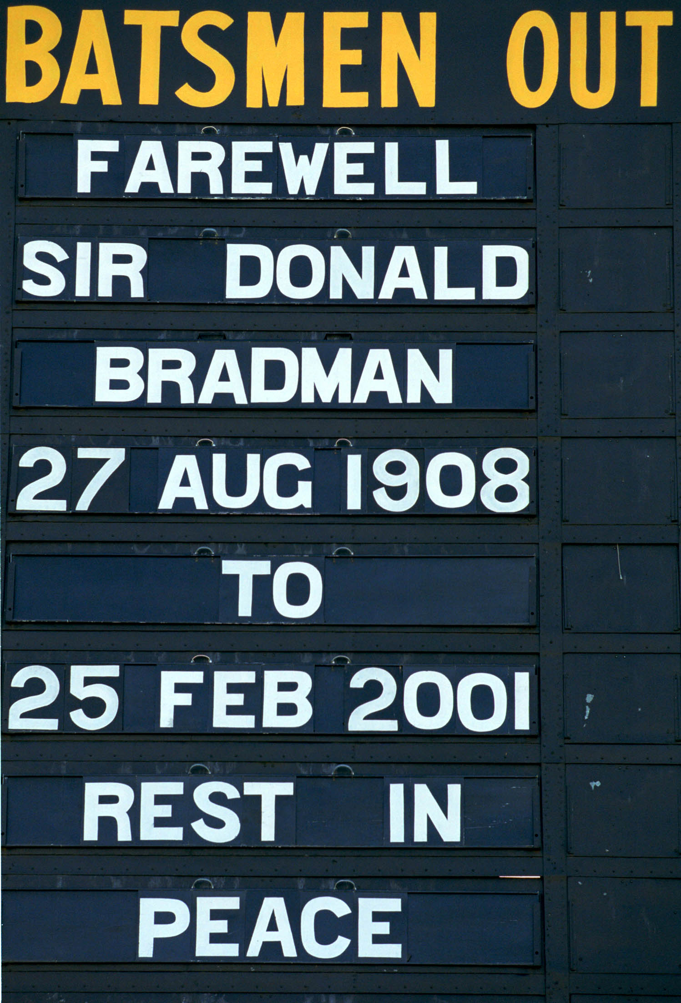 The scoreboard at Adelaide Oval marks the passing of the Don