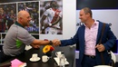 Darren Lehmann and Andrew Strauss shake hands at an event in Manchester, September 7, 2015