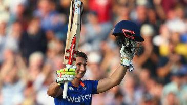 James Taylor celebrates his maiden ODI hundred
