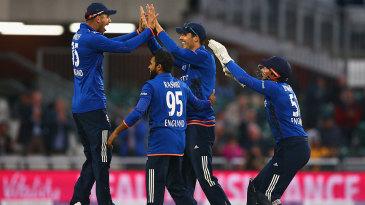 England celebrate Steven Finn's stunning catch