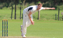 Alasdair Evans bowling during his second spell which claimed two wickets, Netherlands v Scotland, Day 2, Intercontinental Cup, 2nd round, The Hague, September 9, 2015