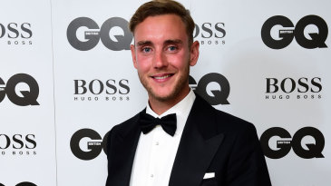 Stuart Broad poses with his GQ magazine Special Achievement award