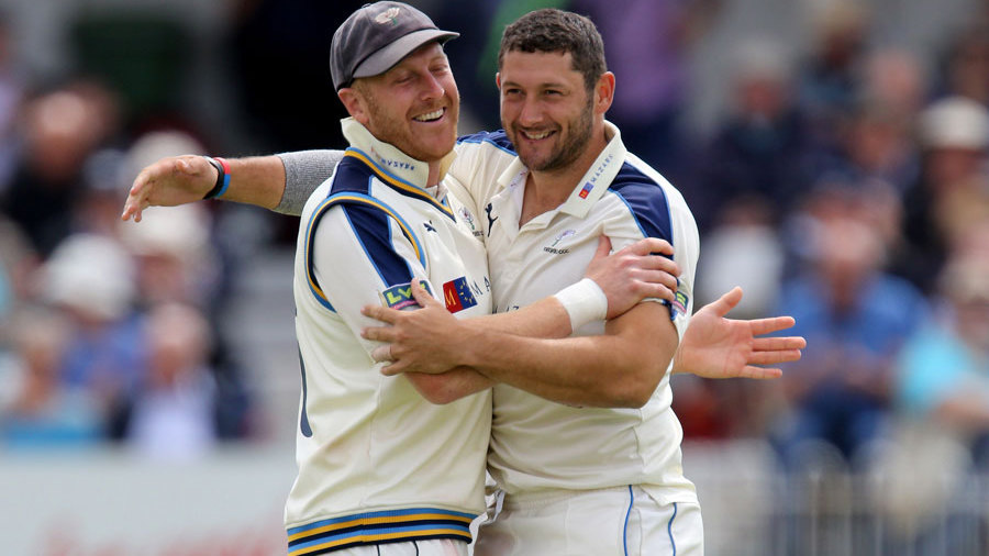 Andrew Gale gives Tim Bresnan a hug