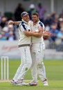Andrew Gale gives Tim Bresnan a hug, Yorkshire v Worcestershire, County Championship, Division One, North Marine Road, 3rd day, July 21, 2015