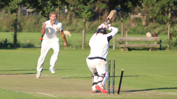 Vivian Kingma celebrates as Preston Mommsen leaves a straight ball