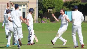 Quirijn Gunning celebrates a successful lbw appeal to dismiss Con de Lange