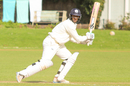Safyaan Sharif drives behind square for one of his four boundaries, Netherlands v Scotland, Day 3, Intercontinental Cup, 2nd round, The Hague, September 10, 2015