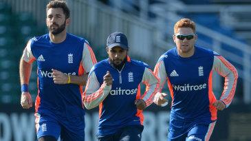 Liam Plunkett, Adil Rashid and Jonny Bairstow train on their home ground