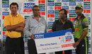 Afaq Raheem receives the Man-of-the-Match award, Faisalabad Region v Islamabad Region, Group B, Haier Mobile T20 Cup, Rawalpindi, September 12, 2015
