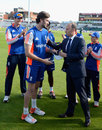 Reece Topley receives his ODI cap from Nasser Hussain, England v Australia, 5th ODI, Old Trafford, September 13, 2015