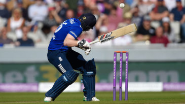 Eoin Morgan was struck on the helmet ducking into a bouncer