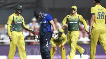 The Australia players were quick to check on Eoin Morgan