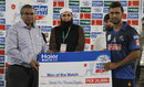 Abdul Ameer picked up the Man-of-the-Match award for his three wickets, Karachi Region Blues v Multan Region, 1st semi-final, Haier Mobile T20 Cup, Rawalpindi, September 14, 2015