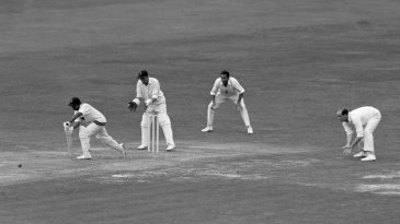 Hanif Mohammad plays the forward defensive