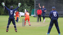 Josh Davey's early lbw shout on Roelof van der Merwe is turned down by umpire Peter Nero, Netherlands v Scotland, WCL Championship, Amstelveen, September 15, 2015