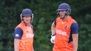 Roelof van der Merwe (l) and Pieter Seelaar (r) put on a 126-run stand for the sixth wicket