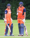 Roelof van der Merwe (l) and Pieter Seelaar (r) put on a 126-run stand for the sixth wicket, Netherlands v Scotland, WCL Championship, Amstelveen, September 15, 2015