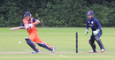 Roelof van der Merwe sets off for a single as rain comes down during his 62 not out, Netherlands v Scotland, WCL Championship, Amstelveen, September 15, 2015