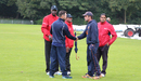 Preston Mommsen and Peter Borren shake hands after the match is called off, Netherlands v Scotland, WCL Championship, Amstelveen, September 15, 2015