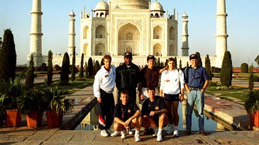 England cricketers pose in front of the Taj Mahal