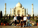 England cricketers pose in front of the Taj Mahal. Back row (from left): Paul Jarvis, Devon Malcolm, Ian Salisbury, Richard Blakey and Mike Atherton. Front row: Neil Fairbrother and Paul Taylor, Agra, January 14, 1993