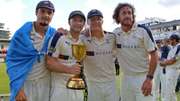 Jack Brooks, Adam Lyth, Gary Ballance and Ryan Sidebottom pose with the trophy