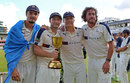 Jack Brooks, Adam Lyth, Gary Ballance and Ryan Sidebottom pose with the trophy, Middlesex v Yorkshire, County Championship, Division One, Lord's, September 12, 2015