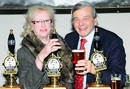 Veronica Trueman and Dickie Bird during the launch of the Copper Dragon's Trueman Ale, Skipton, February 10, 2010