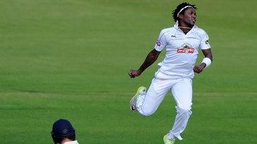 Fidel Edwards jumps for joy after removing Alex Lees