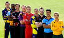 Players from nine counties at the launch day for the NatWest T20 Blast. From left: Michael Hogan, Chesney Hughes, Marcus Trescothick, Andrew Gale, Jos Buttler, Michael Klinger, Ben Raine, Yasir Arafat and James Taylor, Edgbaston, April 17, 2014