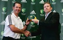 Ricky Ponting and Kevin Roberts at a sponsorship announcement
