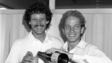 Richard Ellison and David Gower celebrate after winning the 1985 Ashes