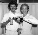 Richard Ellison and David Gower celebrate after winning the 1985 Ashes, England v Australia, 5th Test, The Oval, 5th day, August 20, 1985