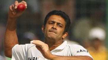 Anil Kumble bowls in his final Test