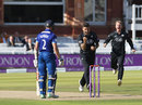 Jade Dernbach removed Michael Klinger for a duck in the first over, Gloucestershire v Surrey, Royal London Cup final, Lord's, September 19, 2015