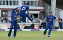 Good hang time: James Fuller celebrates removing Steven Davies, Gloucestershire v Surrey, Royal London Cup final, Lord's, September 19, 2015