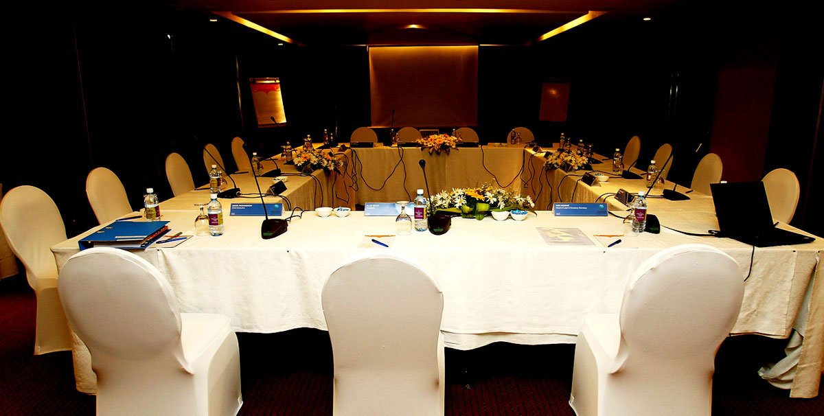 The conference room at the Cinnamon Grand Hotel where the ICC meeting was held