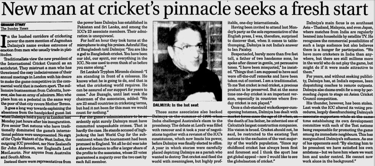 A <i>Sunday Times</i> story on Dalmiya's rise to ICC president, 1997