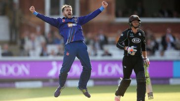 Jack Taylor celebrates the wicket of Tom Curran