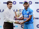 BCCI secretary Anurag Thakur hands Unmukt Chand the series trophy, India A v Bangladesh A, 3rd unofficial ODI, Bangalore, September 20, 2015